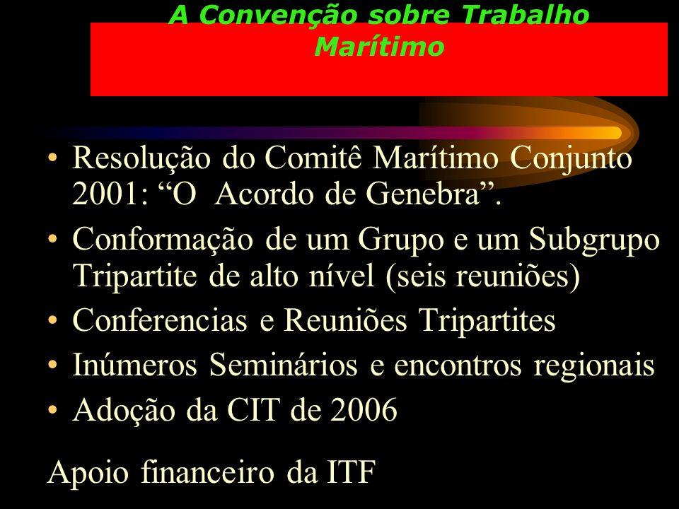A Convenção sobre Trabalho Marítimo Resolução do Comitê Marítimo Conjunto 2001: O Acordo de Genebra. Conformação de um Grupo e um Subgrupo Tripartite