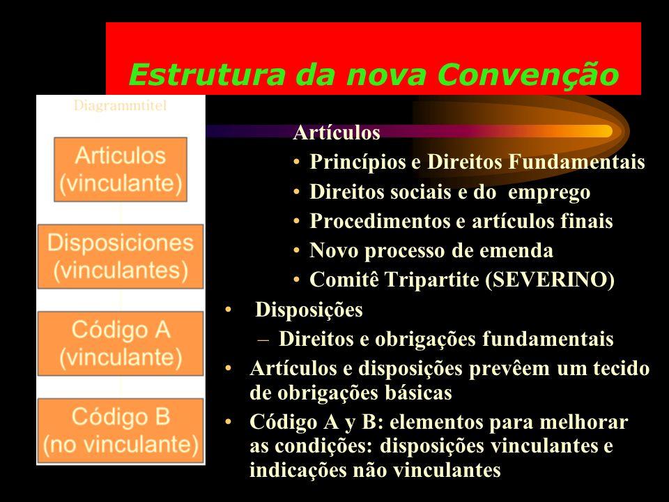 Estrutura da nova Convenção Artículos Princípios e Direitos Fundamentais Direitos sociais e do emprego Procedimentos e artículos finais Novo processo