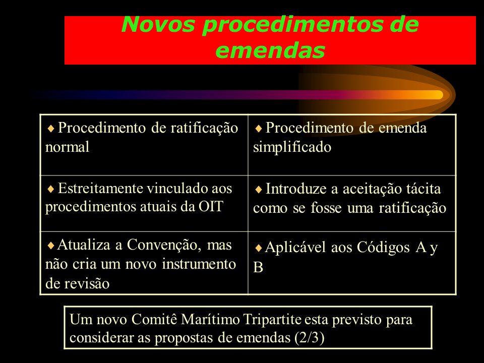 Novos procedimentos de emendas Procedimento de ratificação normal Procedimento de emenda simplificado Estreitamente vinculado aos procedimentos atuais