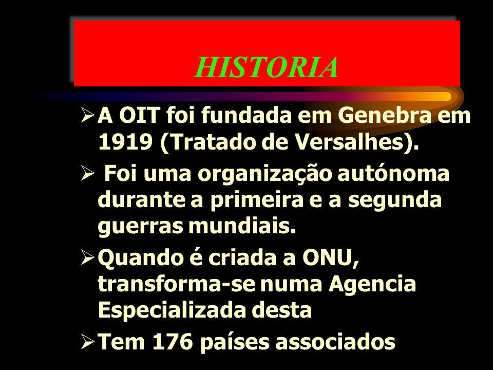 HISTORIA A OIT foi fundada em Genebra em 1919 (Tratado de Versalhes). Foi uma organização autónoma durante a primeira e a segunda guerras mundiais. Qu