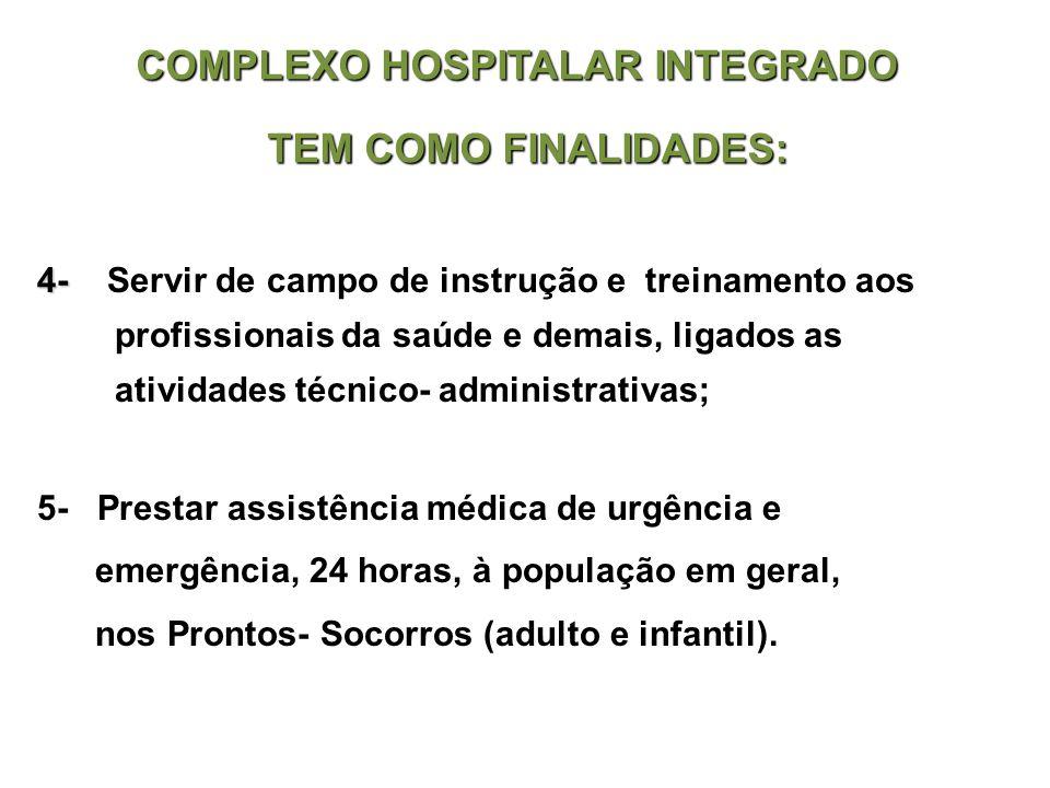4- 4- Servir de campo de instrução e treinamento aos profissionais da saúde e demais, ligados as atividades técnico- administrativas; 5- Prestar assis