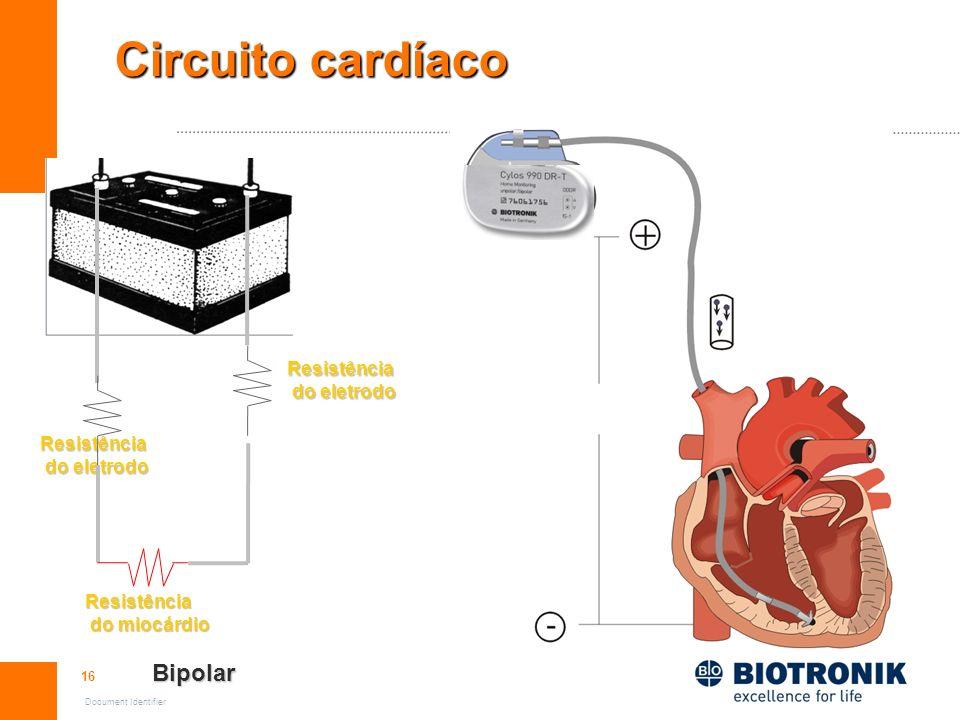 16 Document Identifier Circuito cardíaco Resistência do eletrodo do eletrodo Resistência do miocárdio do miocárdio Bipolar Bipolar Resistência do elet