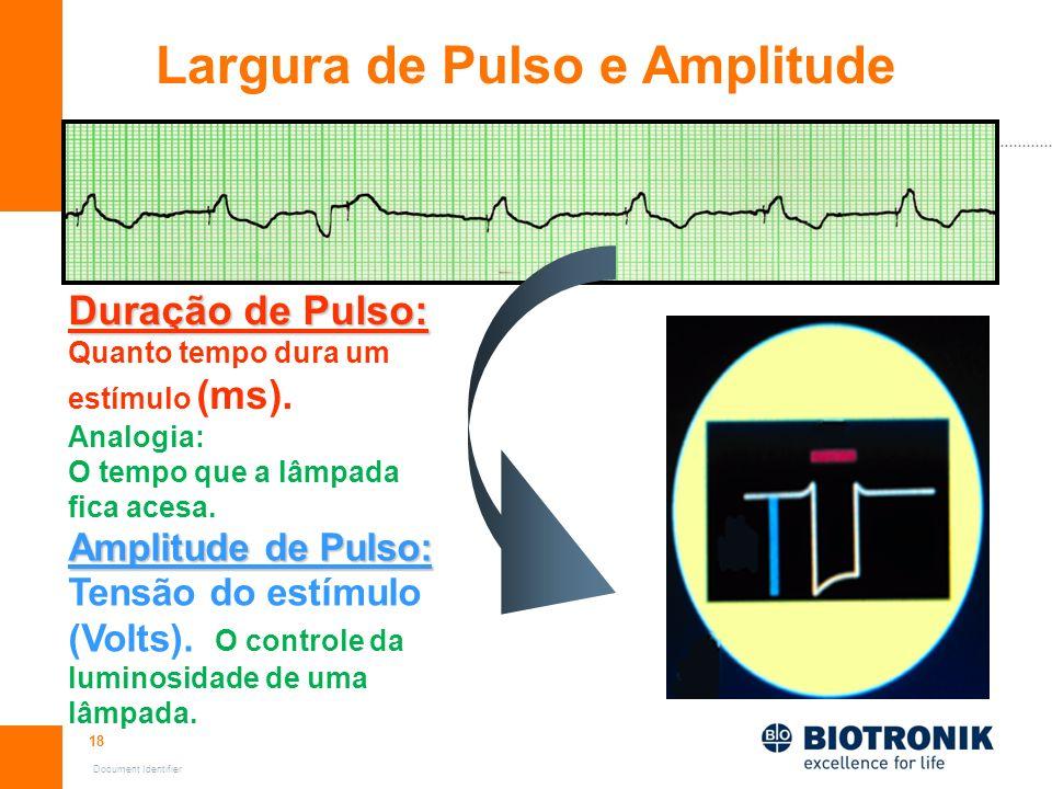 18 Document Identifier Largura de Pulso e Amplitude Duração de Pulso: Quanto tempo dura um estímulo (ms). Analogia: O tempo que a lâmpada fica acesa.