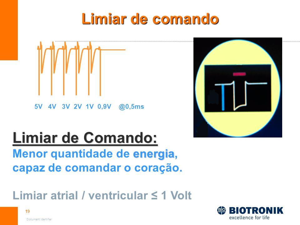 19 Document Identifier Limiar de comando Limiar de Comando: energia Menor quantidade de energia, capaz de comandar o coração. Limiar atrial / ventricu