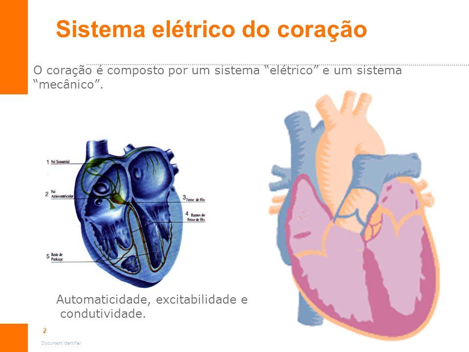 2 Document Identifier O coração é composto por um sistema elétrico e um sistema mecânico. Sistema elétrico do coração Automaticidade, excitabilidade e