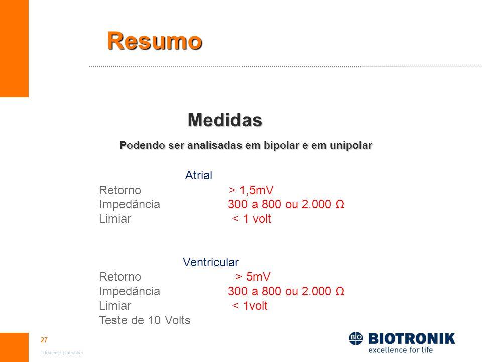 27 Document Identifier Resumo Medidas Medidas Podendo ser analisadas em bipolar e em unipolar Podendo ser analisadas em bipolar e em unipolar Atrial R