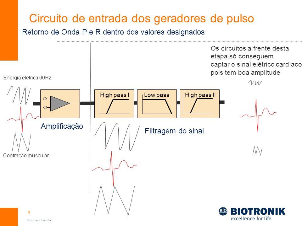 5 Document Identifier High pass IHigh pass IILow pass Circuito de entrada dos geradores de pulso Amplificação Filtragem do sinal Energia elétrica 60Hz Contração muscular Retorno de Onda P e R abaixo dos valores designados OS circuitos a frente desta etapa não conseguem captar estes sinais, por causa da baixa Amplitude.