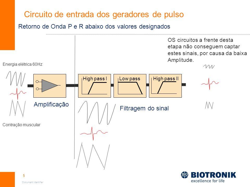 5 Document Identifier High pass IHigh pass IILow pass Circuito de entrada dos geradores de pulso Amplificação Filtragem do sinal Energia elétrica 60Hz