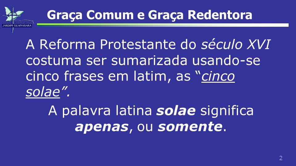 2 Graça Comum e Graça Redentora A Reforma Protestante do século XVI costuma ser sumarizada usando-se cinco frases em latim, as cinco solae. A palavra