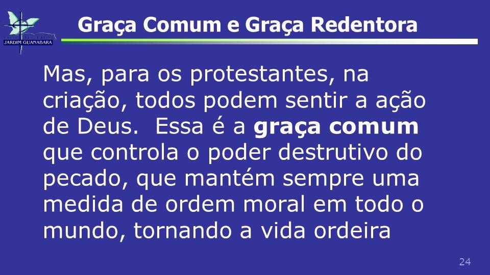 24 Graça Comum e Graça Redentora Mas, para os protestantes, na criação, todos podem sentir a ação de Deus. Essa é a graça comum que controla o poder d