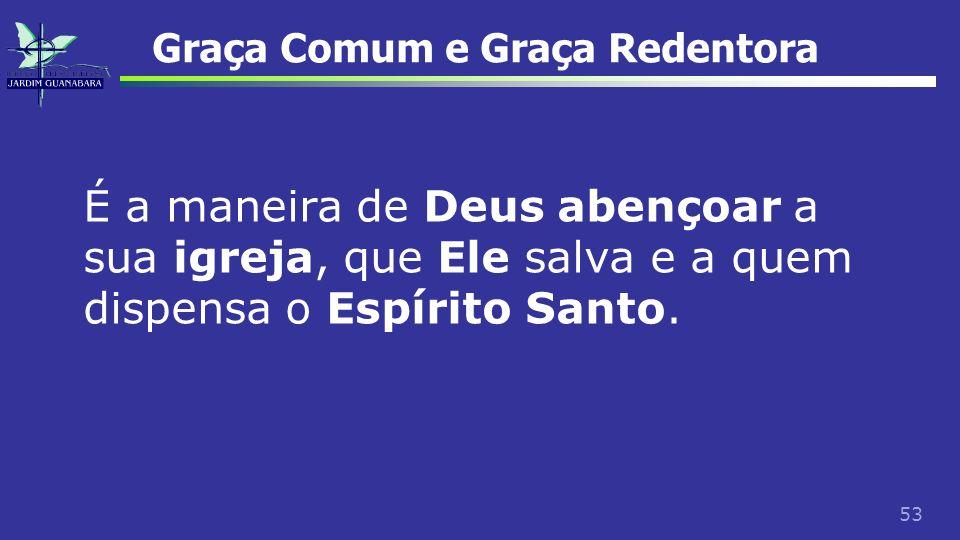 53 Graça Comum e Graça Redentora É a maneira de Deus abençoar a sua igreja, que Ele salva e a quem dispensa o Espírito Santo.