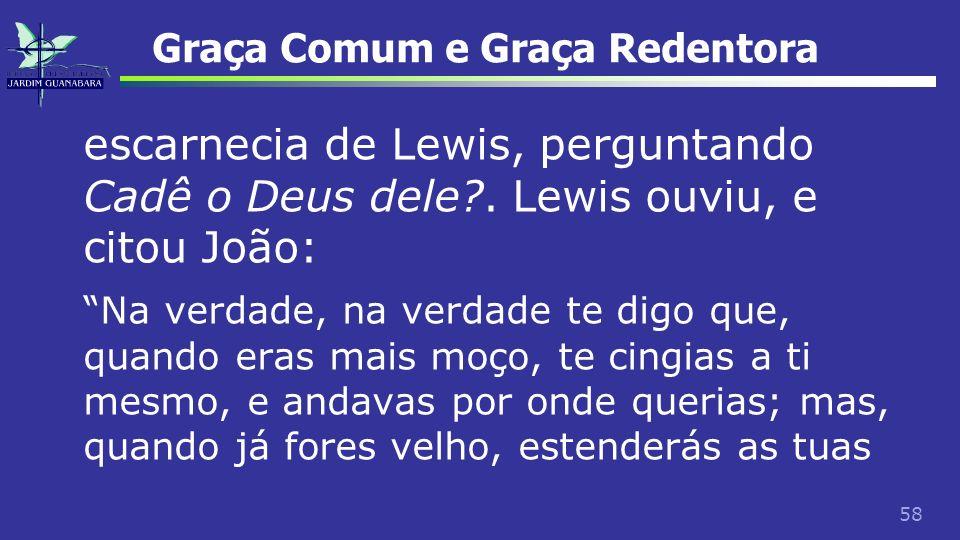 58 Graça Comum e Graça Redentora escarnecia de Lewis, perguntando Cadê o Deus dele?. Lewis ouviu, e citou João: Na verdade, na verdade te digo que, qu