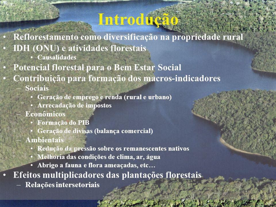 Introdução Reflorestamento como diversificação na propriedade rural IDH (ONU) e atividades florestais Causalidades Potencial florestal para o Bem Esta