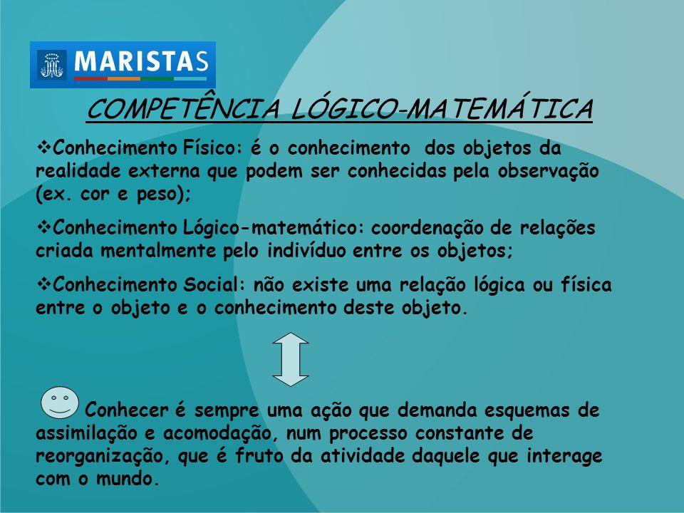 COMPETÊNCIA LÓGICO-MATEMÁTICA Conhecimento Físico: é o conhecimento dos objetos da realidade externa que podem ser conhecidas pela observação (ex. cor