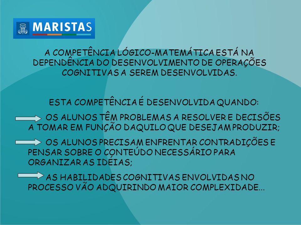 A COMPETÊNCIA LÓGICO-MATEMÁTICA ESTÁ NA DEPENDÊNCIA DO DESENVOLVIMENTO DE OPERAÇÕES COGNITIVAS A SEREM DESENVOLVIDAS.