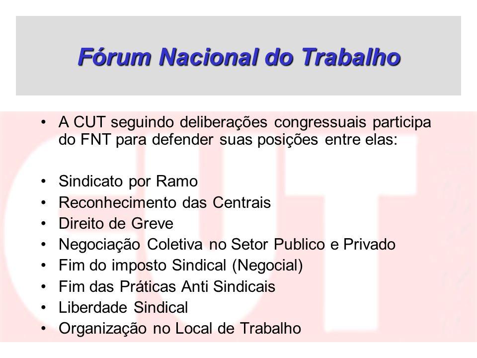 Fórum Nacional do Trabalho A CUT seguindo deliberações congressuais participa do FNT para defender suas posições entre elas: Sindicato por Ramo Reconh