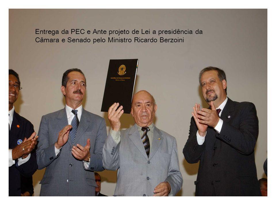 Entrega da PEC e Ante projeto de Lei a presidência da Câmara e Senado pelo Ministro Ricardo Berzoini