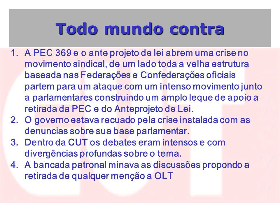 Todo mundo contra 1.A PEC 369 e o ante projeto de lei abrem uma crise no movimento sindical, de um lado toda a velha estrutura baseada nas Federações