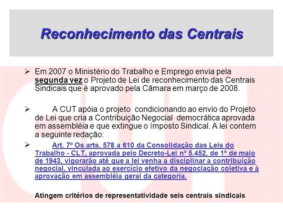 Reconhecimento das Centrais Em 2007 o Ministério do Trabalho e Emprego envia pela segunda vez o Projeto de Lei de reconhecimento das Centrais Sindicai