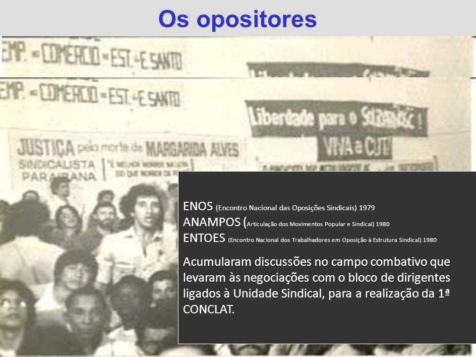 Os opositores ENOS (Encontro Nacional das Oposições Sindicais) 1979 ANAMPOS ( Articulação dos Movimentos Popular e Sindical) 1980 ENTOES (Encontro Nac