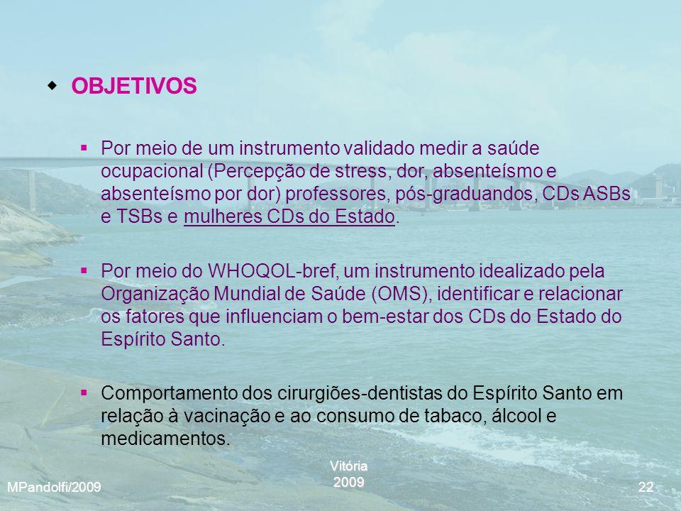 Vitória2009 MPandolfi/2009 22 OBJETIVOS Por meio de um instrumento validado medir a saúde ocupacional (Percepção de stress, dor, absenteísmo e absente