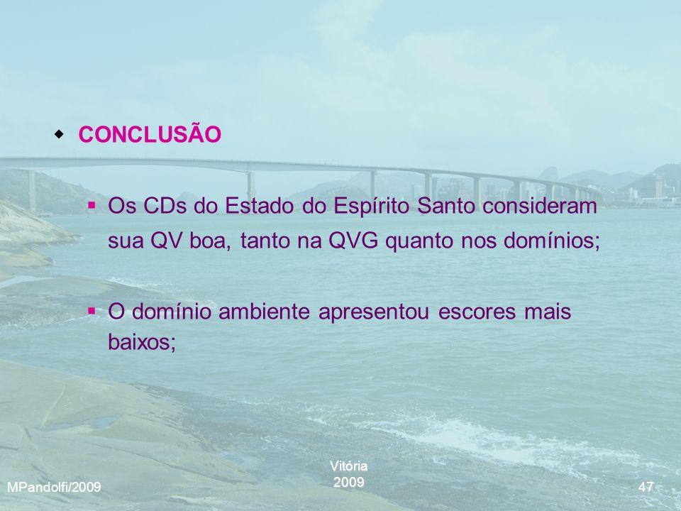 Vitória2009 MPandolfi/2009 47 CONCLUSÃO Os CDs do Estado do Espírito Santo consideram sua QV boa, tanto na QVG quanto nos domínios; O domínio ambiente