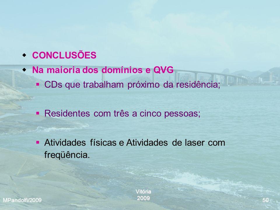 Vitória2009 MPandolfi/2009 50 CONCLUSÕES Na maioria dos domínios e QVG CDs que trabalham próximo da residência; Residentes com três a cinco pessoas; A