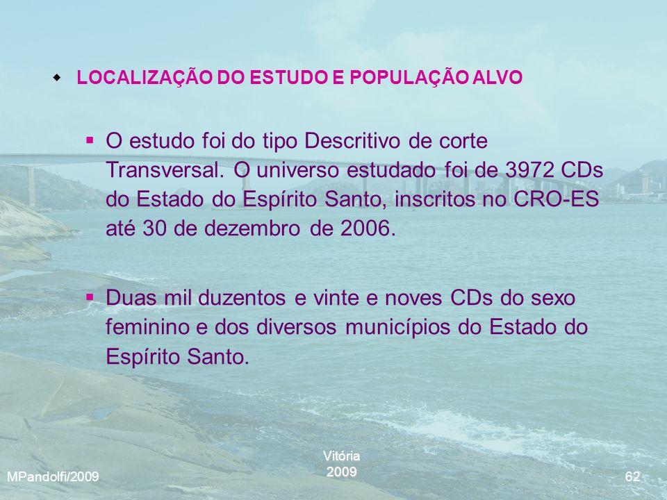 Vitória2009 MPandolfi/2009 62 LOCALIZAÇÃO DO ESTUDO E POPULAÇÃO ALVO O estudo foi do tipo Descritivo de corte Transversal. O universo estudado foi de