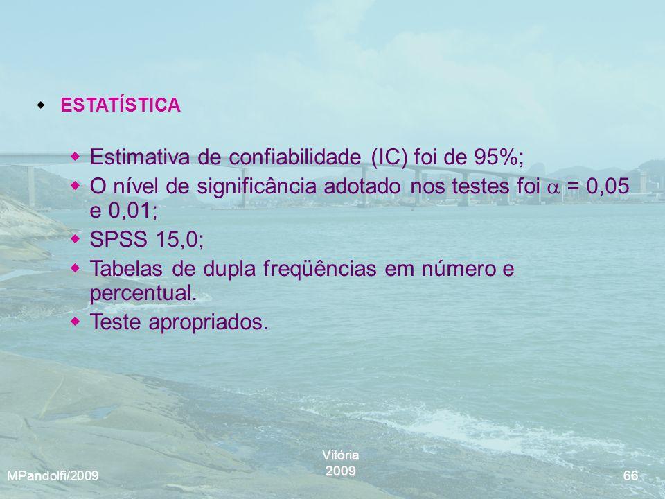 Vitória2009 MPandolfi/2009 66 ESTATÍSTICA Estimativa de confiabilidade (IC) foi de 95%; O nível de significância adotado nos testes foi = 0,05 e 0,01;