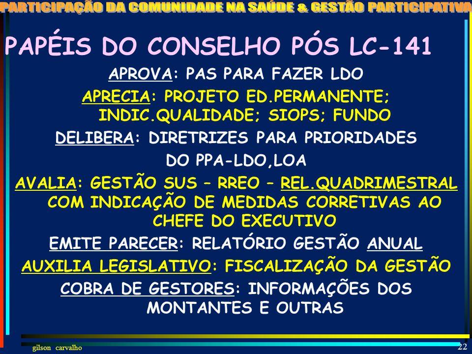 gilson carvalho 21 A NOVA LEI DO SUS LC 141 JAN-2012