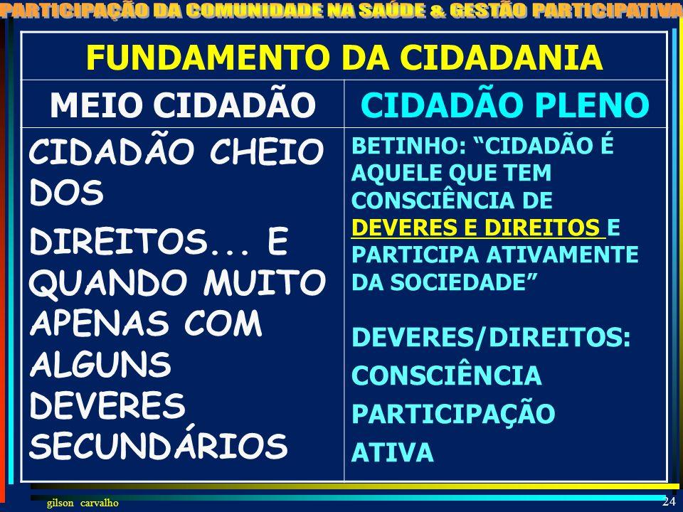 gilson carvalho 23 COMENTÁRIOS PESSOAIS SOBRE CIDADANIA E PARTICIPAÇÃO NA SOCIEDADE