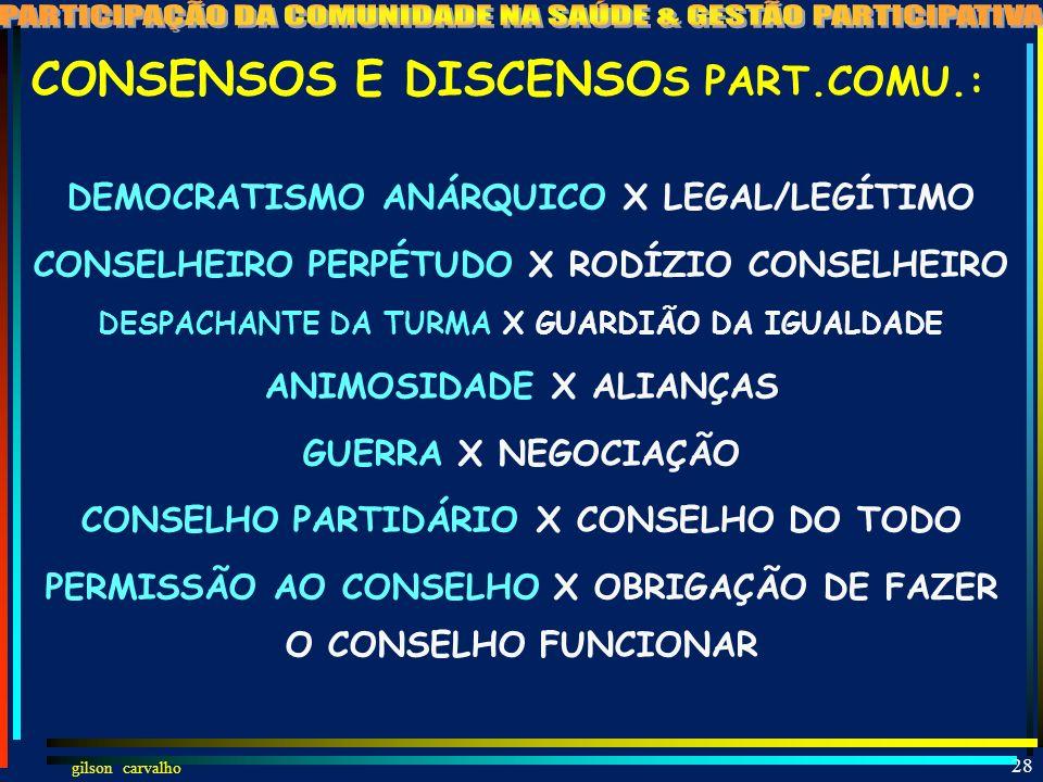 gilson carvalho 27 CONSENSOS E DISCENSOS DA PARTICIPAÇÃO DA COMUNIDADE NA SAÚDE