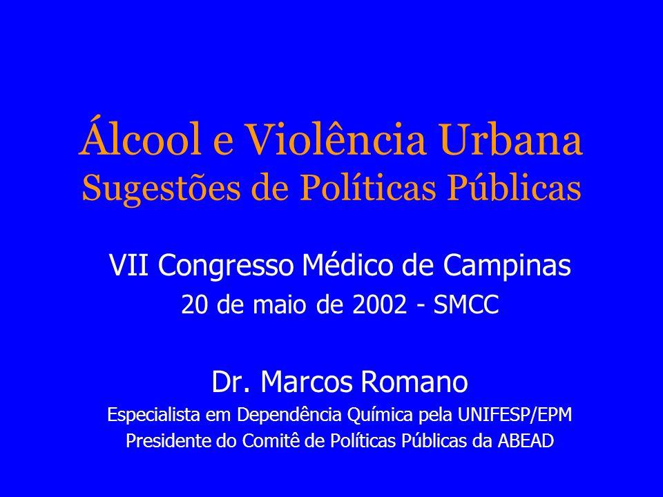 Álcool e Violência Urbana Sugestões de Políticas Públicas VII Congresso Médico de Campinas 20 de maio de 2002 - SMCC Dr. Marcos Romano Especialista em