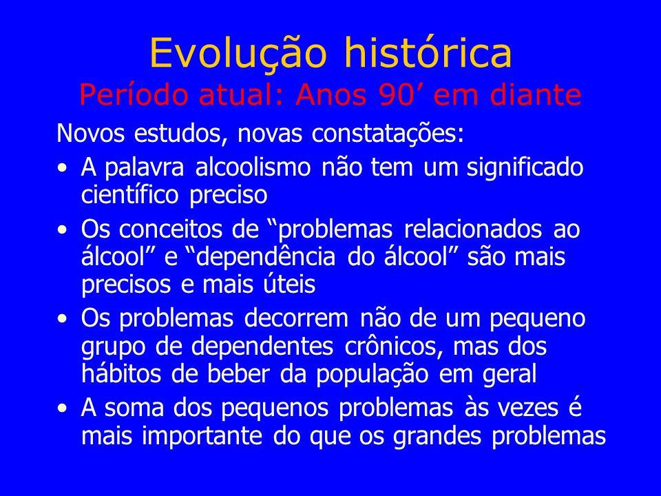 Evolução histórica Período atual: Anos 90 em diante Novos estudos, novas constatações: A palavra alcoolismo não tem um significado científico preciso