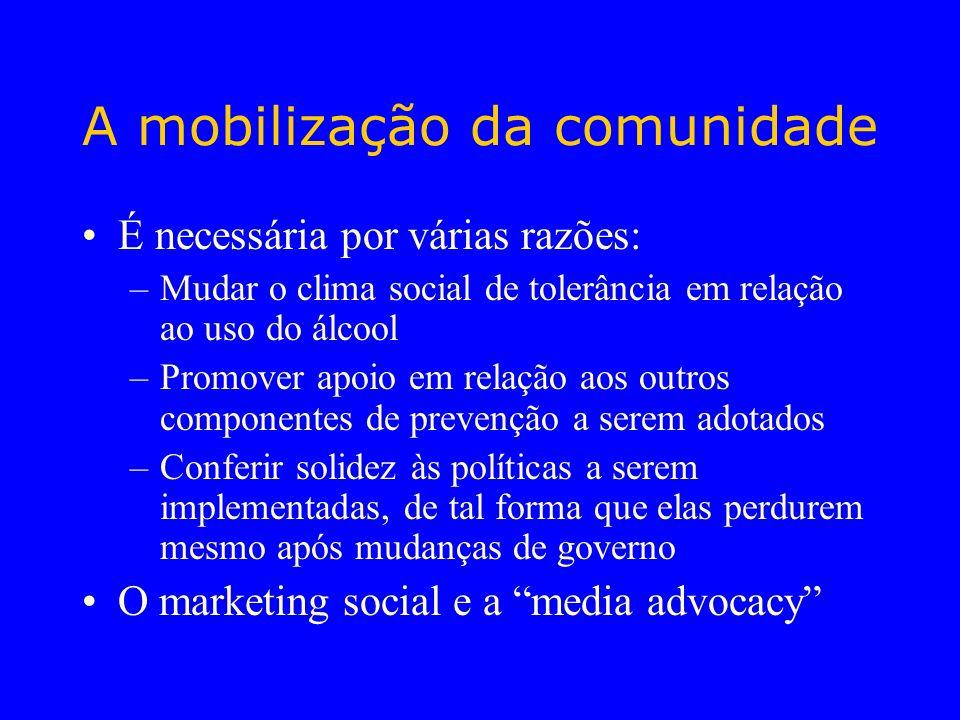 A mobilização da comunidade É necessária por várias razões: –Mudar o clima social de tolerância em relação ao uso do álcool –Promover apoio em relação