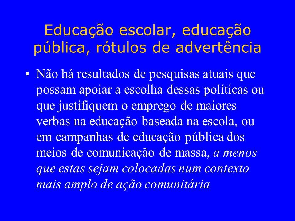 Educação escolar, educação pública, rótulos de advertência Não há resultados de pesquisas atuais que possam apoiar a escolha dessas políticas ou que j