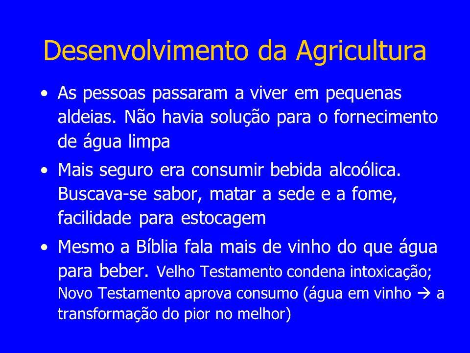 Desenvolvimento da Agricultura As pessoas passaram a viver em pequenas aldeias. Não havia solução para o fornecimento de água limpa Mais seguro era co