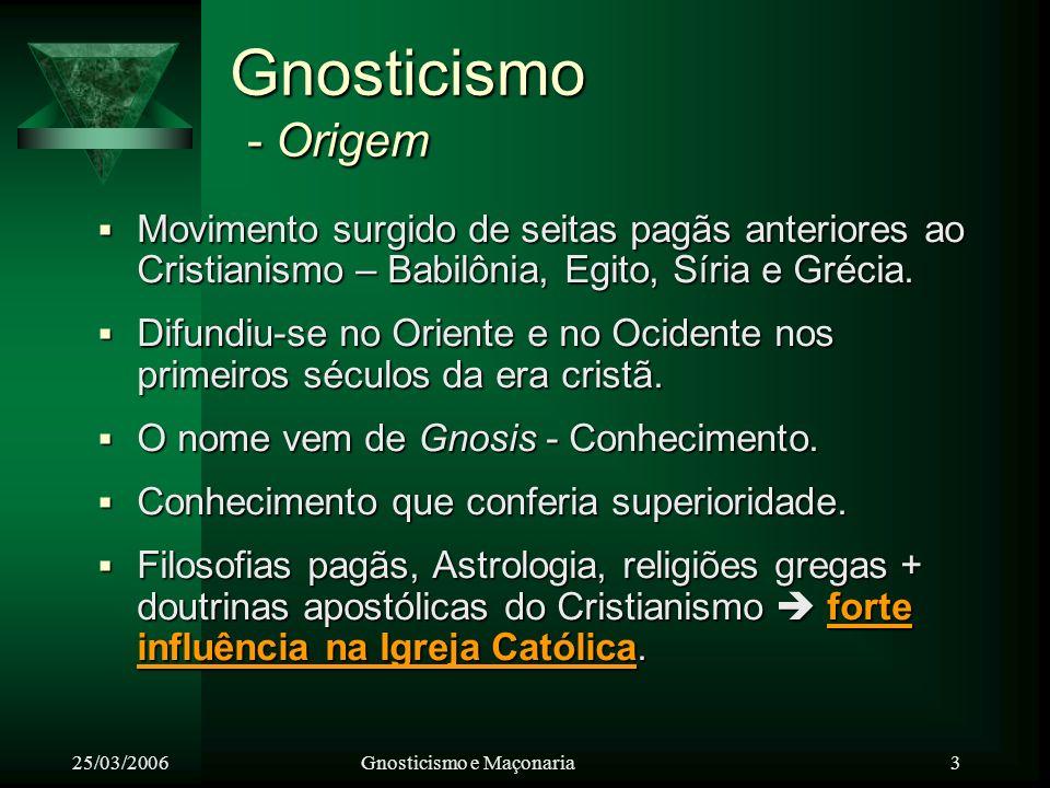 25/03/2006Gnosticismo e Maçonaria 4 Gnosticismo - Princípios Crença em Deus.