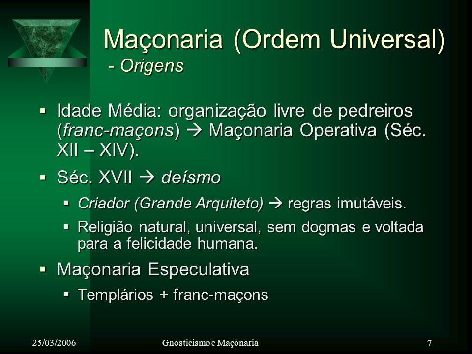 25/03/2006Gnosticismo e Maçonaria 8 Maçonaria - Princípios Básicos: Liberdade, igualdade e fraternidade Moral, razão e justiça.