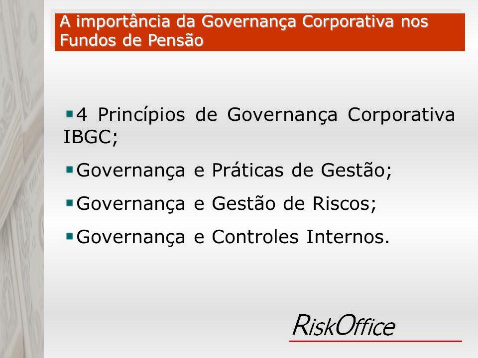 4 Princípios de Governança Corporativa IBGC; Governança e Práticas de Gestão; Governança e Gestão de Riscos; Governança e Controles Internos. A import
