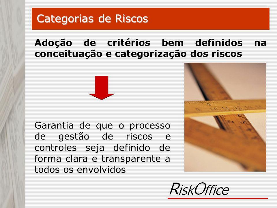 Garantia de que o processo de gestão de riscos e controles seja definido de forma clara e transparente a todos os envolvidos Categorias de Riscos Adoç