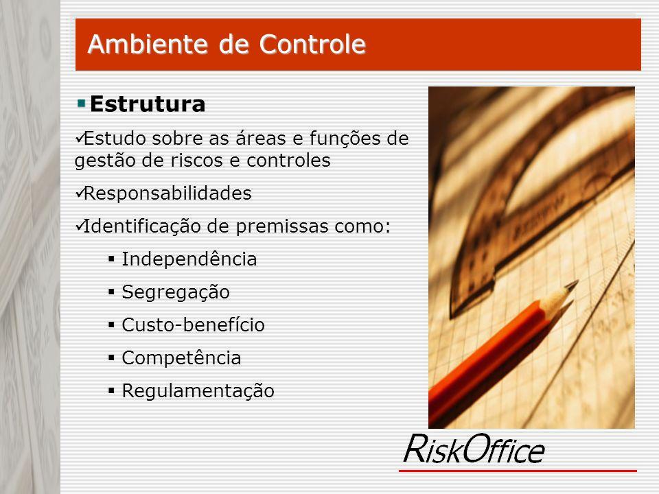 Ambiente de Controle Estrutura Estudo sobre as áreas e funções de gestão de riscos e controles Responsabilidades Identificação de premissas como: Inde