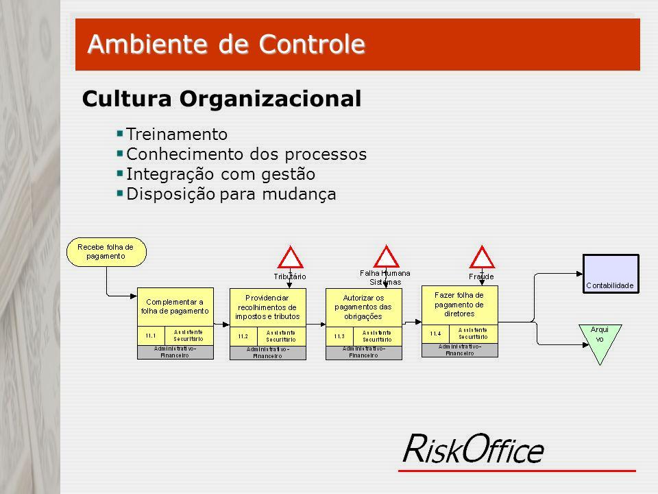 Ambiente de Controle Cultura Organizacional Treinamento Conhecimento dos processos Integração com gestão Disposição para mudança