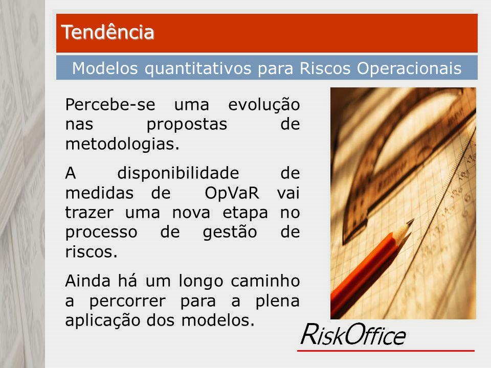 Tendência Modelos quantitativos para Riscos Operacionais Percebe-se uma evolução nas propostas de metodologias. A disponibilidade de medidas de OpVaR