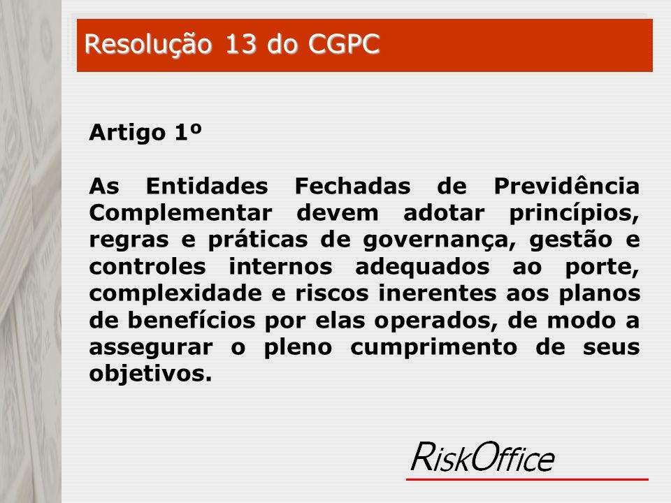 Artigo 1º As Entidades Fechadas de Previdência Complementar devem adotar princípios, regras e práticas de governança, gestão e controles internos adeq