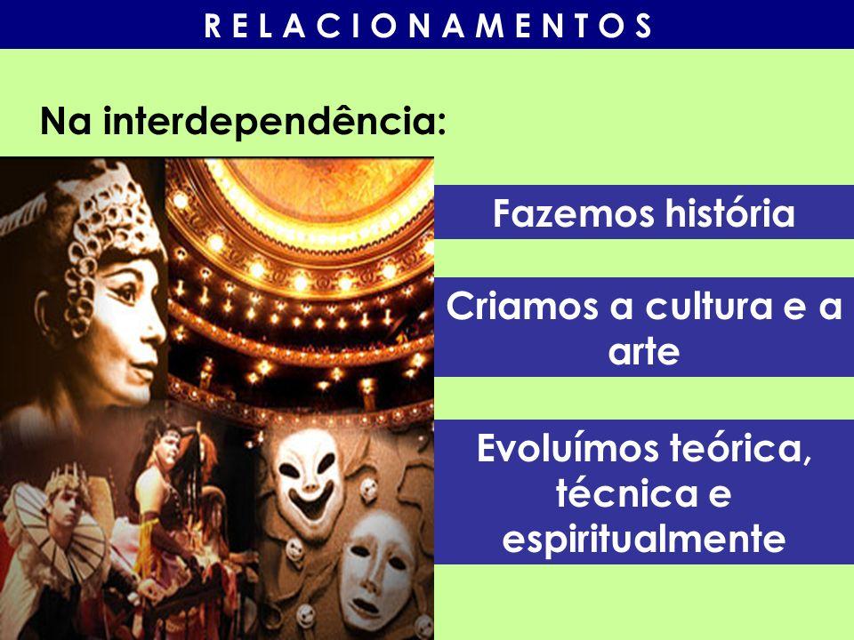 Na interdependência: Fazemos história Criamos a cultura e a arte Evoluímos teórica, técnica e espiritualmente
