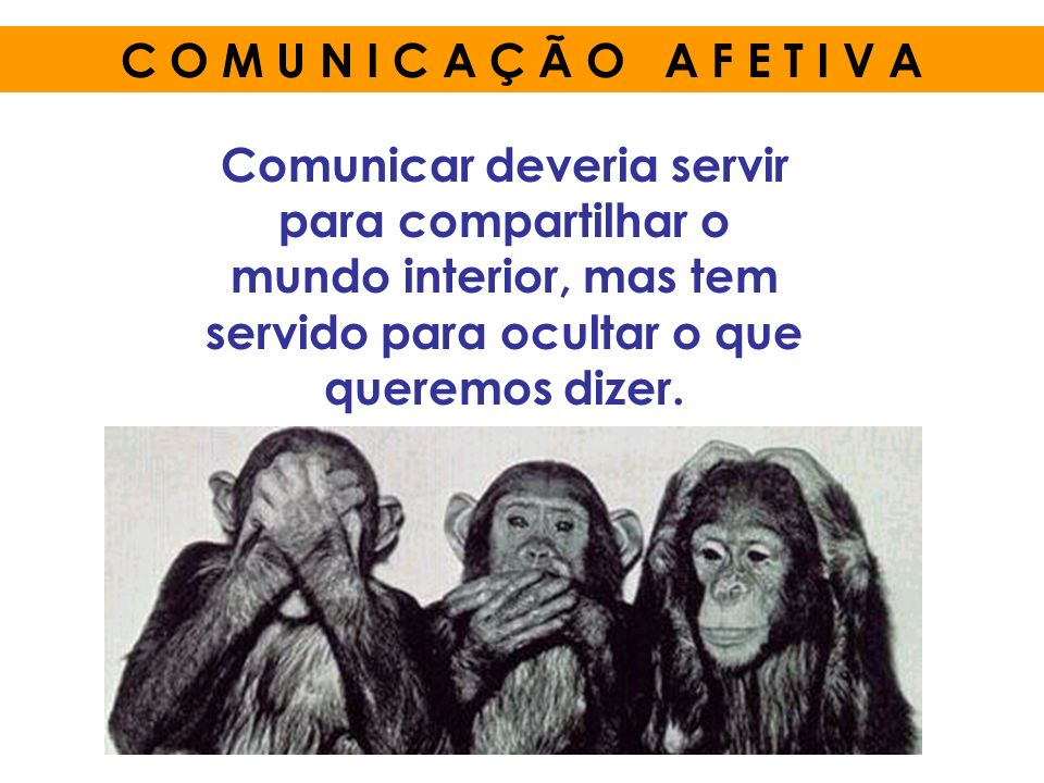 C O M U N I C A Ç Ã O A F E T I V A Comunicar deveria servir para compartilhar o mundo interior, mas tem servido para ocultar o que queremos dizer.