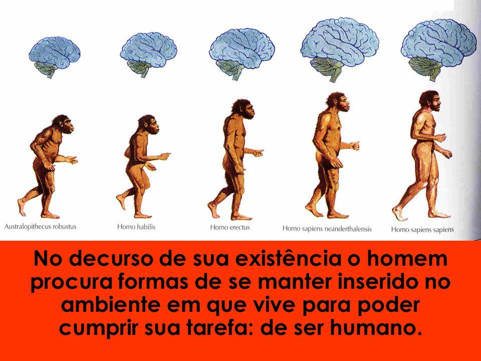 No decurso de sua existência o homem procura formas de se manter inserido no ambiente em que vive para poder cumprir sua tarefa: de ser humano.