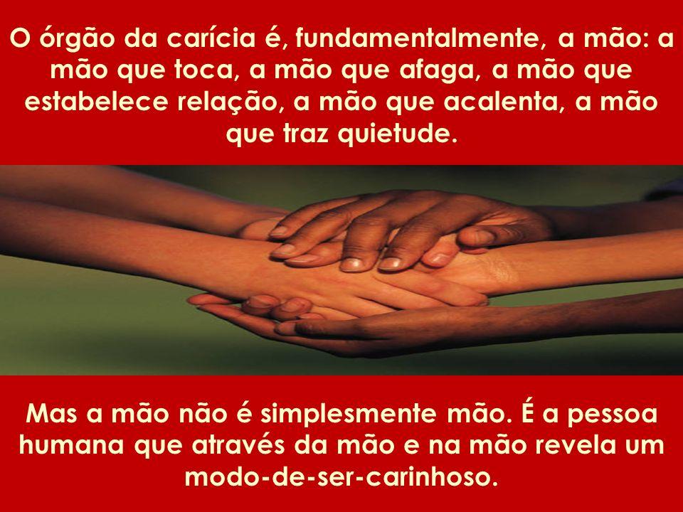 O órgão da carícia é, fundamentalmente, a mão: a mão que toca, a mão que afaga, a mão que estabelece relação, a mão que acalenta, a mão que traz quiet