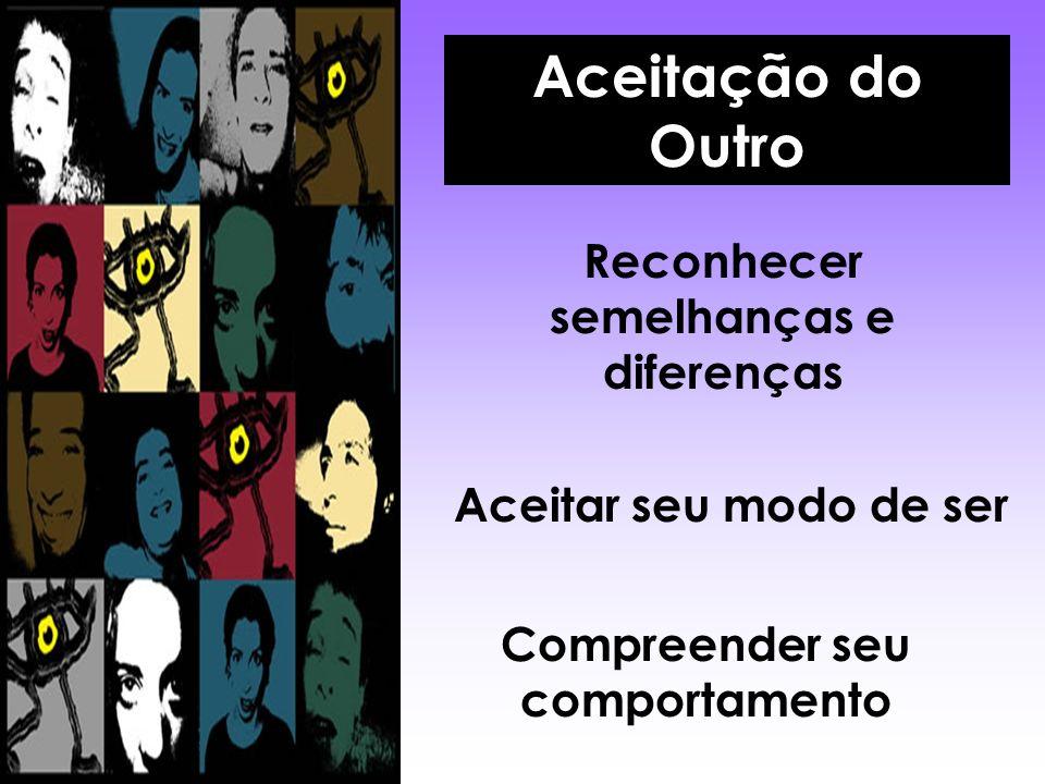 Aceitação do Outro Reconhecer semelhanças e diferenças Aceitar seu modo de ser Compreender seu comportamento